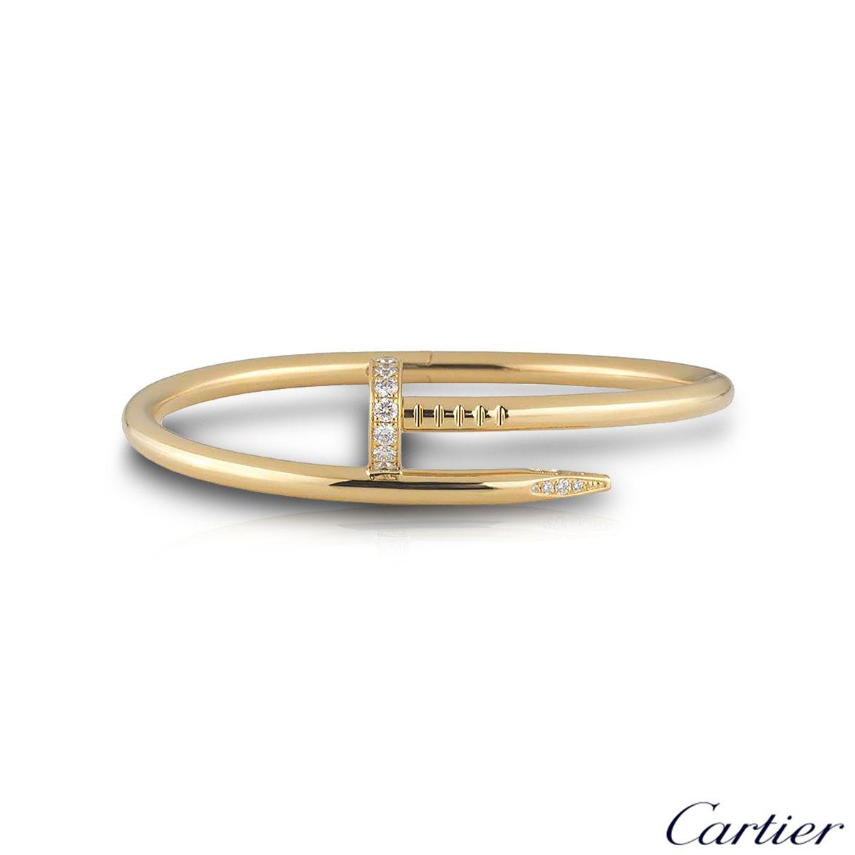 Cartier Yellow Gold Diamond Juste Un Clou Bracelet Size 15 B6048615